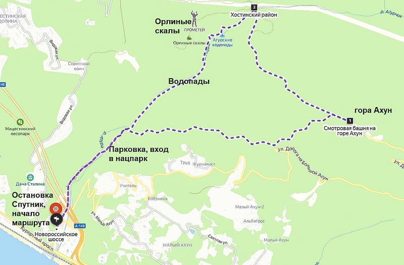 маршрут агурские водопады ахун